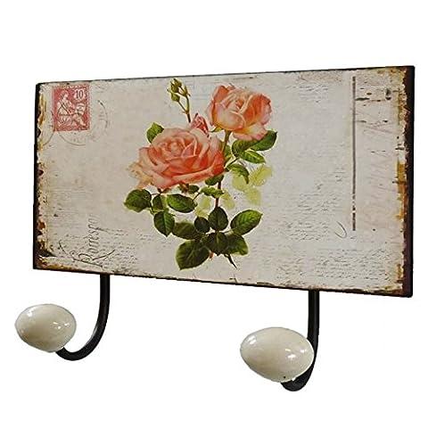 Door coats Double Wall Porcelain Hooks Flowers Decorative Iron Antique Brown 7x12x17cm