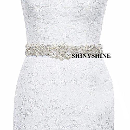 shinyshine weiß Kristall Schärpen für Hochzeit weiß Hochzeit Brautschmuck Gürtel geflochten Strass Band 57x6cm(22.8x2.4inches) elfenbeinfarben -