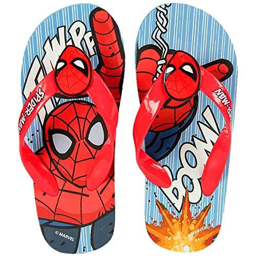 Zehentrenner Jungen Spiderman Comics Marvel Avengers mit geprägter Maske und Gummiband (36 EU)