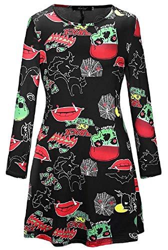 Krere Langärmeliges Halloween-Rundhalsausschnitt mit Rundhalsausschnitt und bedrucktem Midi-Kleid (Farbe : 10, Größe : US XS=China S)