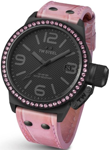 TW Steel Canteen 45mm Black Dial Crystal-set Bezel Pink Leather Ladies Watch STW911