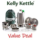 Ultimate Base Camp Kelly Kettle Kit - VALUE DEAL (1.6 ltr Stainless Steel Base Camp Kettle + Cook Set + Hobo Camping Stove + Camp Cups (2pcs) + Plates (2pcs) + Pot Support + Bag + Green Whistle has replaced the Orange Stopper