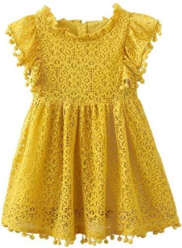 squarex Mädchen-Kleid mit Blumenmuster und Spitze, Prinzessinnen-Kleid, Kinder, gelb, 3-4 Jahre