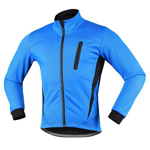 iCREAT Herren Jacket Air Jacket Winddichte Wasserabweisend MTB Mountainbike Jacket Visible reflektierend, Fleece Warm Jacket, Blau GR.M