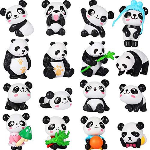 Chinco 16 Stücke Süß Tier Mini Figuren Spielset Mini Kuchen Topper Dekoration Handwerk für Kinder Party Gefälligkeiten Spaß Büro Haus Dekor (Panda Figuren)