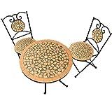 Mosaiksitzgarnitur ROMA 2x Stuhl + 1 Tisch Sitzgruppe Mosaiktisch Mosaikstuhl Gartentisch