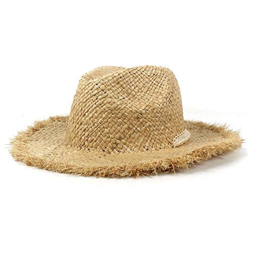 ebart-Raffiabast-Sonnenhut für Sommer-Frauen Breiten die Krempe Sunbonnet Panama-Kappen-Hut Dropshipping (Farbe : Natürlich, Größe : 56-58CM) ()