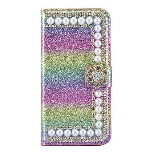 PU Cuir Case iPhone 7 Plus Mandala Fleurs Rétro Style Coque, Sunroyal Premium Embossed PU Leather Soft TPU Inner Housse Absorption de Choc et Anti-Scratch Téléphone Coque de Protection + 1 x Bling ant Rainbow 01