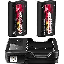 Batería de Controlador Xbox One, 2500mAH NI-MH Batería Recargable para Xbox One / One S / One X / One Controladores inalámbricos Elite, Paquete de 2 Baterías 1 con cable de carga