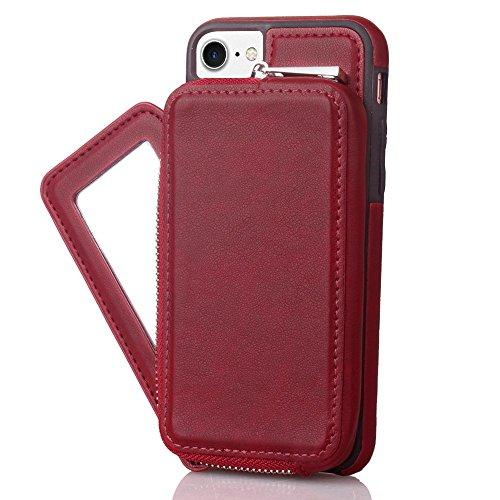Retro stilvolle PU-lederne Fall-Mappen-rückseitige Abdeckung mit großer Kapazitäts-Reißverschluss-Beutel-Shell-Abdeckung für iPhone 7 Plus ( Color : Gray ) Red