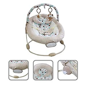 Todeco - Baby Bouncer, Bouncing Cradle - Size: 57 x 40.4 x 11.6 cm - Maximum load: 10 kg - White monkey pattern