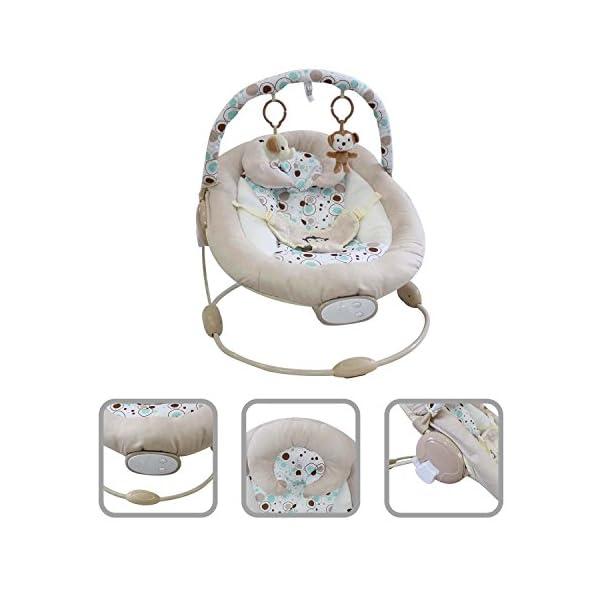 Todeco - Baby Bouncer, Bouncing Cradle - Size: 57 x 40.4 x 11.6 cm - Maximum load: 10 kg - White monkey pattern