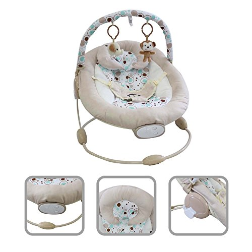 Todeco – Baby Bouncer, Bouncing Cradle – Size: 57 x 40.4 x 11.6 cm – Maximum load: 10 kg – White monkey pattern 51RIHy0WUgL