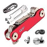 QLIP Schlüssel Organizer Smart Key Organizer Schlüsselanhänger mit Flaschenöffner und Karabiner mit Autoschlüssel, Rot, 2-22 Schlüssel