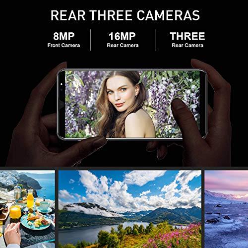 4G Telephone Portable debloqué, 5,8 Pouces 3Go + 32Go Android 8.1 Smartphone Pas Cher Dual 16MP + 8MP Caméras, 3800mAh Double SIM Face ID Téléphone Portable Pas Cher sans Forfait (Noir)