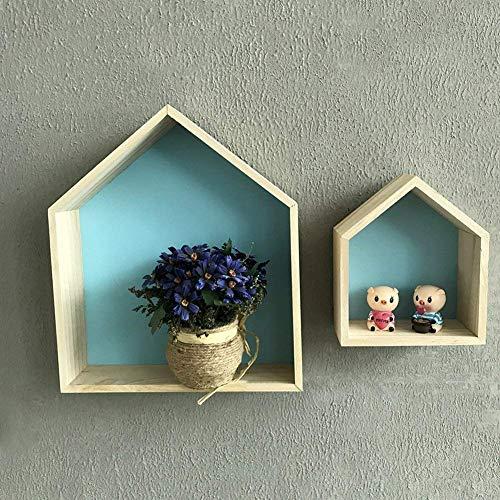 XinHome Lovely aus Holz hausförmig Wand Ablage Display Zum Aufhängen Regal Kinderzimmer Storage Rack Wandhalterung Wandboards Speicher Box Kinder Wandregal Display Hängeregal Kinderzimmer Deco blau -