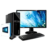 Kiebel Computer Komplett Set PC + 24 Zoll TFT-Monitor, AMD A6-9500 8-Kerner (2 CPU + 6 Grafikkerne) 3.8GHz Turbo, 4GB DDR4-2400, Radeon R5 Grafik, HDMI (bis UltraHD, 4K), 1TB Festplatte (LAN, DVD, Sound) leiser Multimedia Computer, Windows 10 [184312]