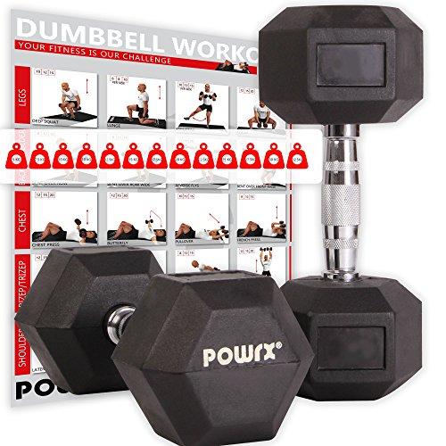POWRX - Mancuernas hexagonales 40 kg Set (2 x 20 kg) - Revestimiento de Goma + PDF Workout (Negro)