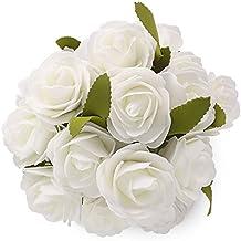 Soledi - Ramo de flores artificiales, 6 rosas por ramillete, rosas de espuma para boda y decoración de hogar y jardín - 5 ramilletes
