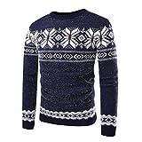 Xinwcang Herren Rundhals Pullover Norweger Pullover Weihnachtspullover Blau M