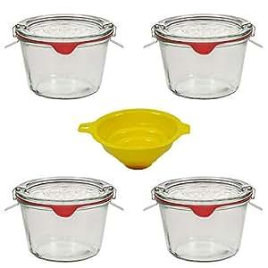 4 weckgl ser rundrandgl ser in sturzform 250 ml auch gut geeignet f r kuchen im glas. Black Bedroom Furniture Sets. Home Design Ideas