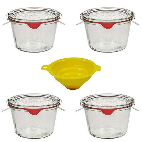 4 Weckgläser / Rundrandgläser in Sturzform 250 ml (auch gut geeignet für Kuchen im Glas, Vorspeisen und Desserts) inkl. Klammern+Ringe und einem gelben Einfülltrichter mit Arretierung
