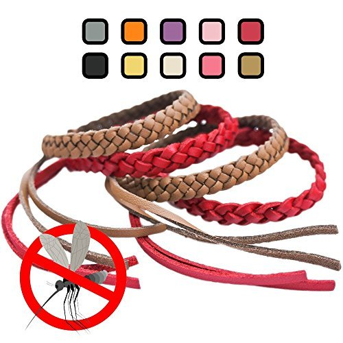 Kinven Mosquito Bug Repellent Faux Leather Bracelet Bands - DEET Free - Stylish Braiding, 2 packs (4 bracelets), (Color: Red, Brown)