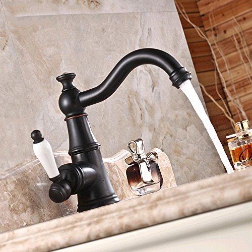 Vintage-badezimmer-möbel (WYMBS Kreative Möbel Dekoration Bad-Accessoires Vintage Kupfer und schwarz lackiert warmes und kaltes Wasser Badezimmer Waschbecken Wasserhahn)
