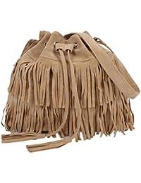 Tongshi Mensajero de las mujeres de la borla de las mujeres de la manera ocasional Bolsas sólido con cordón bolsas de hombro (Caqui)