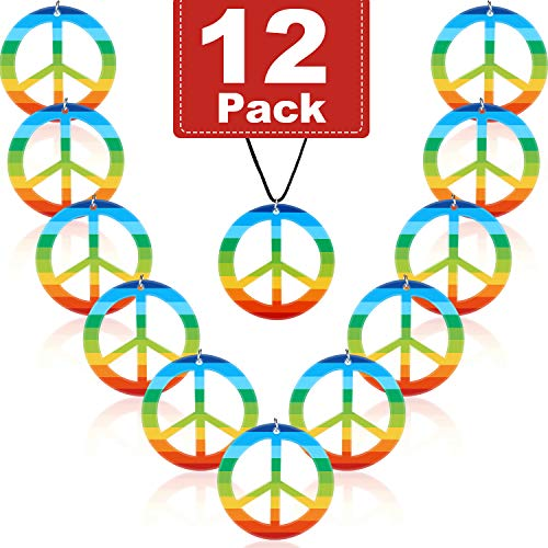 meekoo 12 Piezas Arco Iris Collares de la Paz Collar de Signo de la Paz de Plástico Accesorio de Vestuario