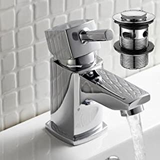 Alfred Victoria Modern Mini Mono Basin Mixer Brass Tap with Sprung Waste Y07 - Chrome Finish