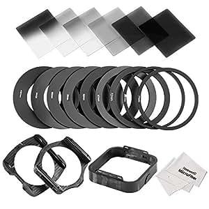 Neewer® ND Neutraldichte Filter Set für Cokin P-Serie enthält (6) Voll & Verlauffilter (ND2 ND4 ND8 Filter + Stufenweise G.ND2 G.ND4 G.ND8 Filter) + (9) Adapter Ring49mm, 52mm, 55mm, 58mm, 62mm, 67mm, 72mm, 77mm, 82mm) + (2) Filterhalter + (1) Blende + (2) Mikrofaser Reinigungstuch + (1) Filter Tragetasche