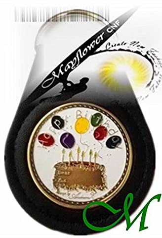 Mayflower CNF Coin &Leather Holder *Coin of Happy Birthday to You *Wonderful Gift for Yourself, Kids, Friends, Classmate, Co-worker, Family Member *Memo Limited