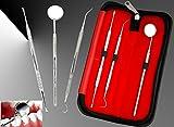 BeautyTrack Kit de blanqueamiento dental Kit de removedor de placa de cálculo tártaro - Acero inoxidable - Raspador de dientes - sonda dental - Espejo de dentista Herramientas de calidad premium
