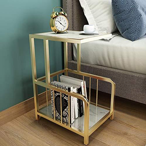 Tische MEIDUO Marmor Sofa Seite C Metall Basis Akzent Ecken Tabelle Nachttisch 4 Farben Computertisch (Farbe : Gold+White)