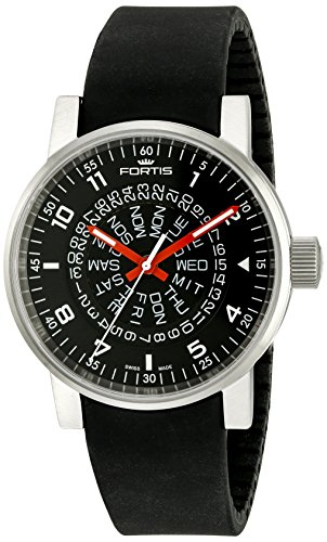 fortis-spacematic-black-red-automatic-day-date-steel-mens-strap-watch-6231051-si01