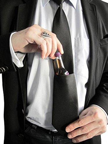 Krawatte Schnapps Tie Saufkrawatte - Karneval & Fasching mit Tasche für Schnapps und Shots (Flaschen Schnaps Beispiel)