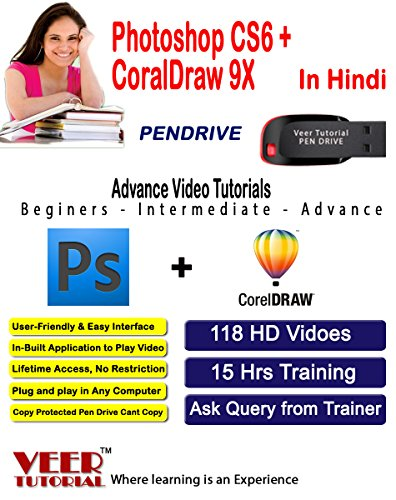 Photoshop CS6 + CoralDraw 9X Video Training (1 Pen Drive, 15 Hrs, 118 HD Videos) in Hindi