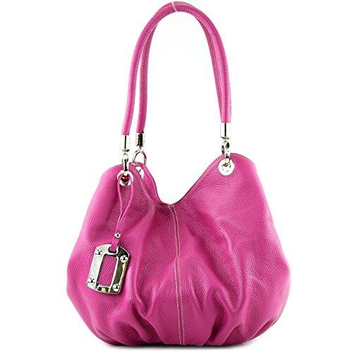 modamoda de - ital. Ledertasche Damenhandtasche Beuteltasche Schultertasche Leder 228 Pink