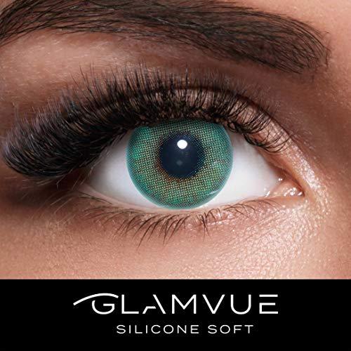 GLAMVUE SILICONE SOFT Beverly Hills Green + Behälter I Sehr stark deckende grüne natürliche Kontaktlinsen farbig I 1 Paar (2 Stück) I DIA 14.00 I ohne Stärke