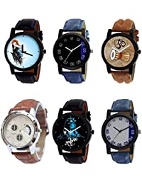 NIKOLA Modish 3D Design Mahadev Damru Black Blue And Brown Color 6 Watch Combo (B22-B37-B25-B52-B23-B40) For Boys...