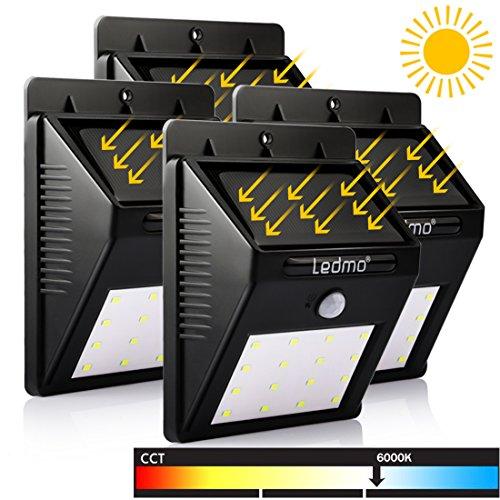 LEDMO® 4er Solarleuchten mit Super Hell Kaltweißlicht LED, 3 Intelligiente Modi, LED Solar Wandleuchte 2017 Neu Stil Outdoor Gartenlichter Sensor Wall Light Außenwandleuchten