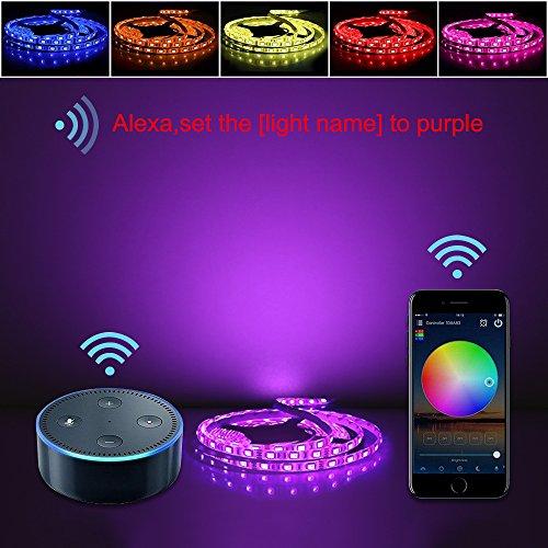 Wifi Led Streifen RGBWW Set Arbeitet mit Alexa, Google Home, IFTTT, Wifi Wireless Smart Phone Gesteuert (RGB+Warmweiß) 4 in 1 LED Lichtleiste Full Kit