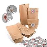 24 kleine braune Papiertüten natur Kraftpapier 10,7 x 22 x 4,2 cm + 24 runde Aufkleber Frohe Weihnachten grau rot weiß Verpackung Geschenk mini-Tüte