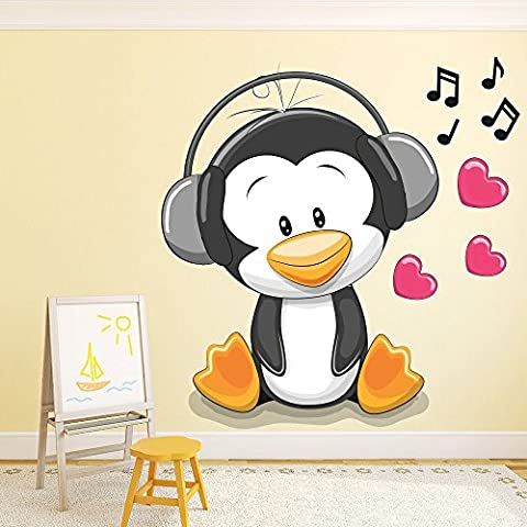 Penguin Cuffie da portare Nidi bambini Colore Wall Stickers Home Art Stickers disponibile in 8 taglie Gigantesco Digitale