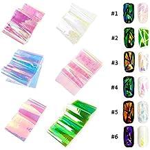 GoodPing DIY Nail Art roto vidrio láser láminas pegatinas dedo calcomanías (6 colores diferentes)