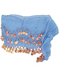 The Turkish Emporium Chiffon 3 Row Belly Dance Hip Scarf Coin Belt with 128 coins