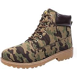 Amlaiworld Zapatillas Hombre Zapatos casuales de hombres Shoes Botines con cordones de hombre Martin Botas de cuero (Camuflaje, EU40 /CN 41)