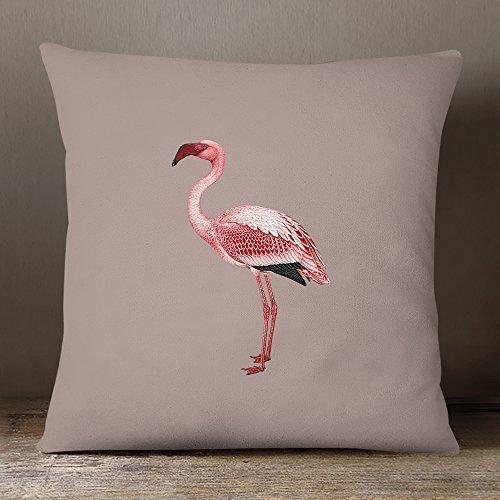 Izabela PETERS Designer wasserfester stoff Garten Außen Kissen -Tropical Sammlung - entworfener bedruckt & Handgefertigt in Großbritannien - taupe - Flamingo, 50 x 50 cm