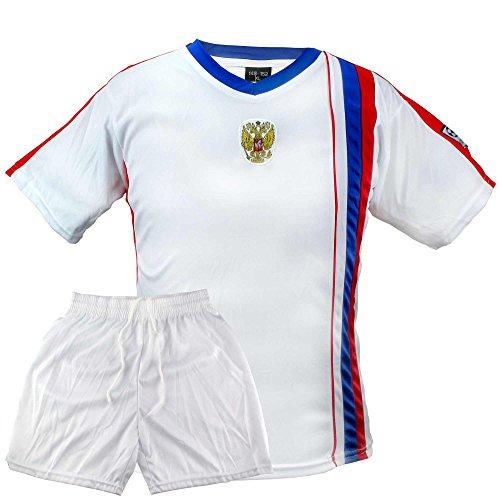 MC-Trend Russland Russia Kinder Fussball Trikot Weiss Rot Blau mit Mesh-Einsätzen, Weltmeisterschaft (122-128)
